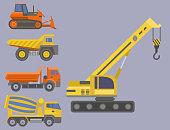 Construction delivery truck vector transportation vehicle construct and road trucking machine equipment. Dumper business truck cargo sand container large platform industrial car vector illustration.