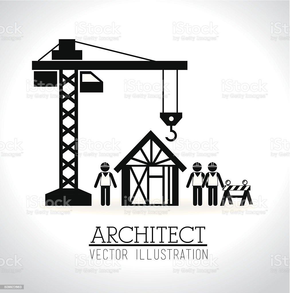 Construction design vector art illustration