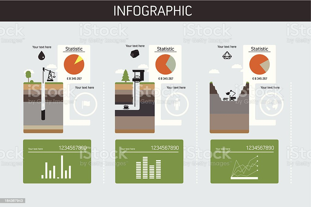 Construction dig site infographic chart vector art illustration