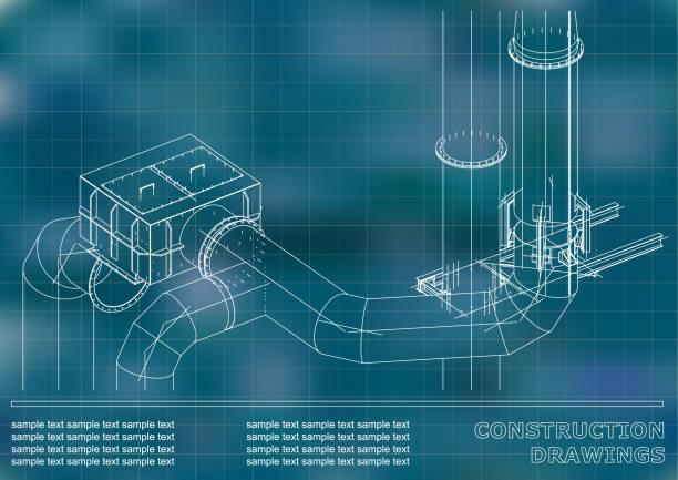 konstruktionszeichnungen. 3d-metallbau. rohrleitungen, rohrleitungen - splash grafiken stock-grafiken, -clipart, -cartoons und -symbole