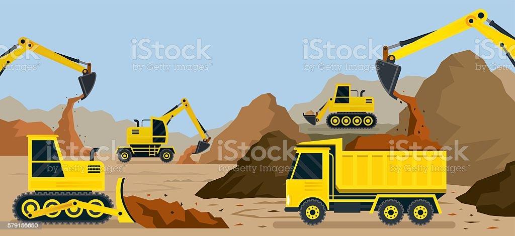 Construction, Earthworks, Quarry, Background – Vektorgrafik