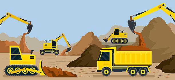 Construction, Earthworks, Quarry, Background vector art illustration