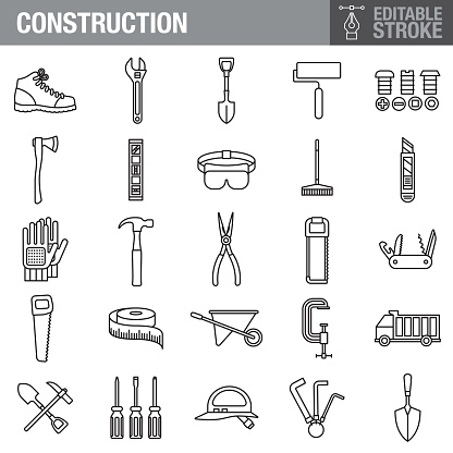 Construction Editable Stroke Icon Set