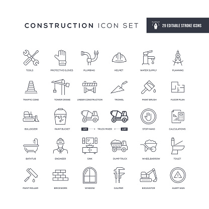 Construction Editable Stroke Line Icons
