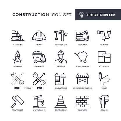 19 Construction Icons - Editable Stroke - Easy to edit and customize - You can easily customize the stroke with