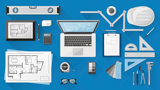 bildbanksillustrationer, clip art samt tecknat material och ikoner med construction engineer desk - construction workwear floor