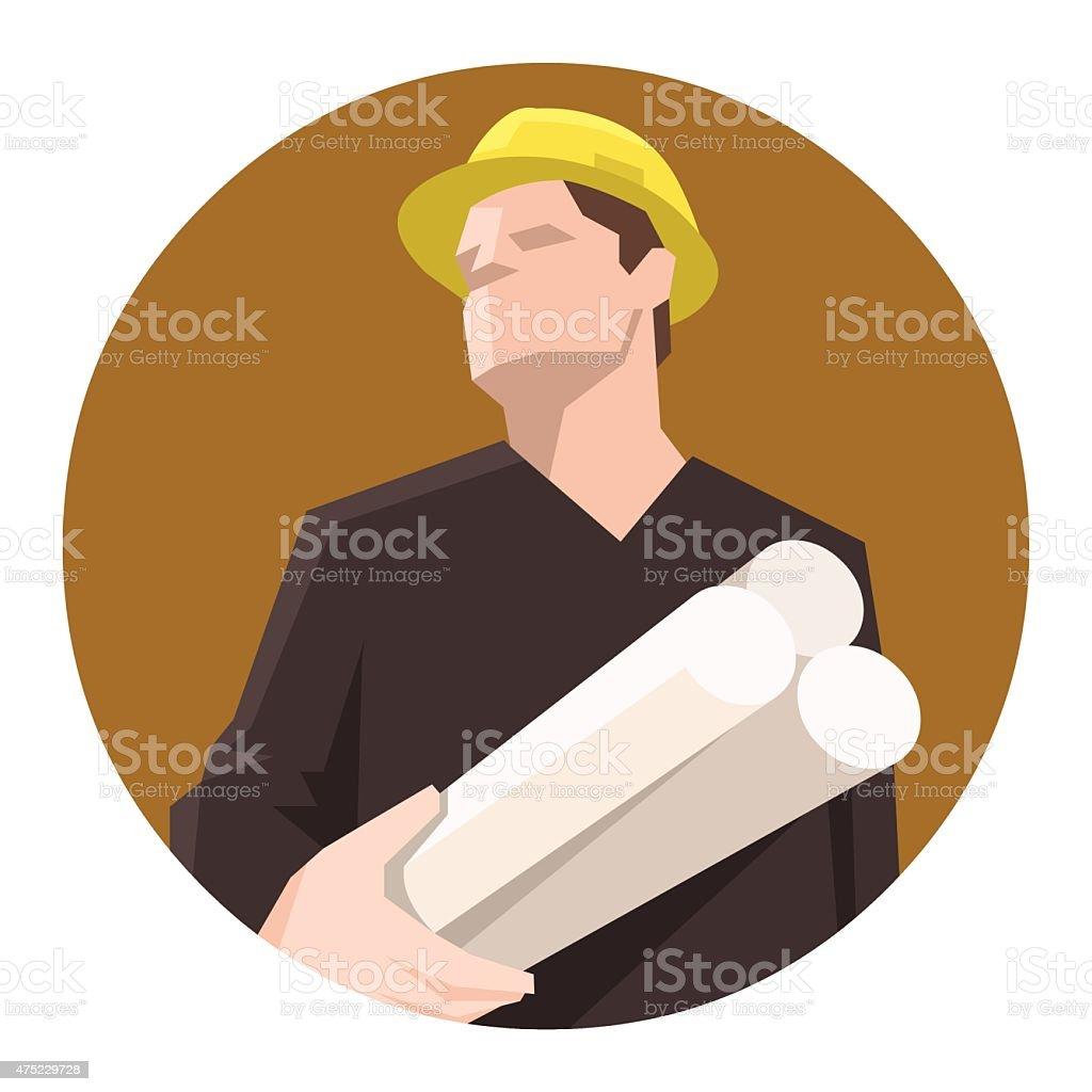 Construction engineer holding blueprints vector art illustration