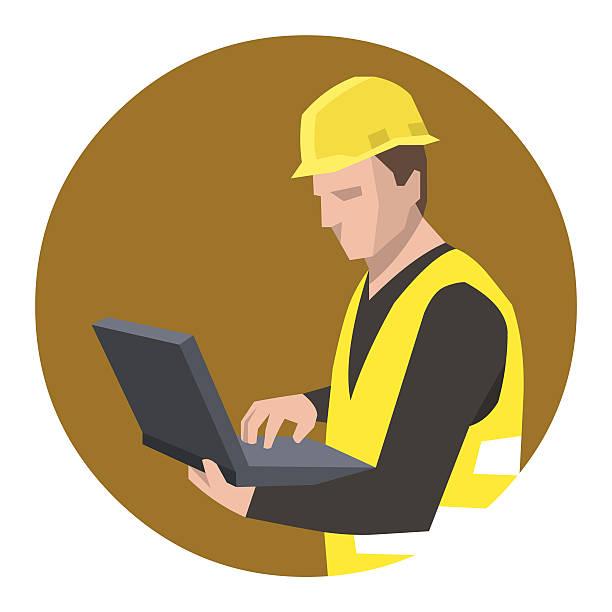 bildbanksillustrationer, clip art samt tecknat material och ikoner med construction engineer using laptop - man architect computer
