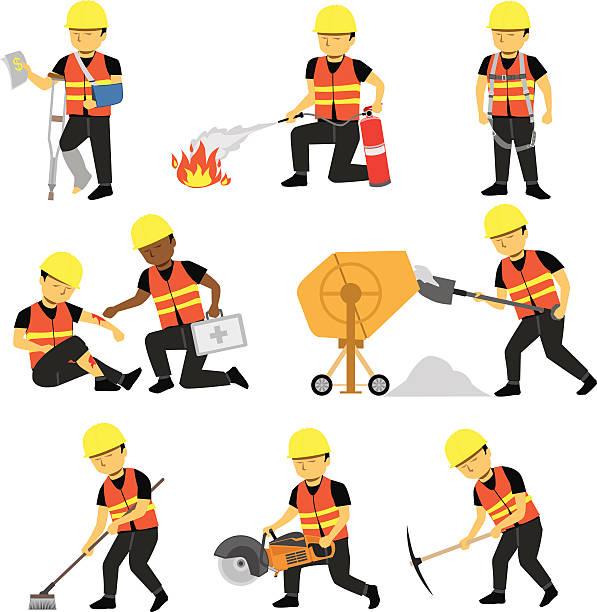 Construction Engineer Worker Builder Set Three vector art illustration