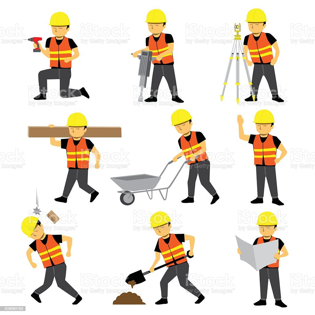 Construction Engineer Worker Builder Set vector art illustration