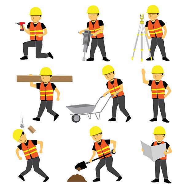 建設労働者エンジニアビルダーセット - 建設作業員点のイラスト素材/クリップアート素材/マンガ素材/アイコン素材
