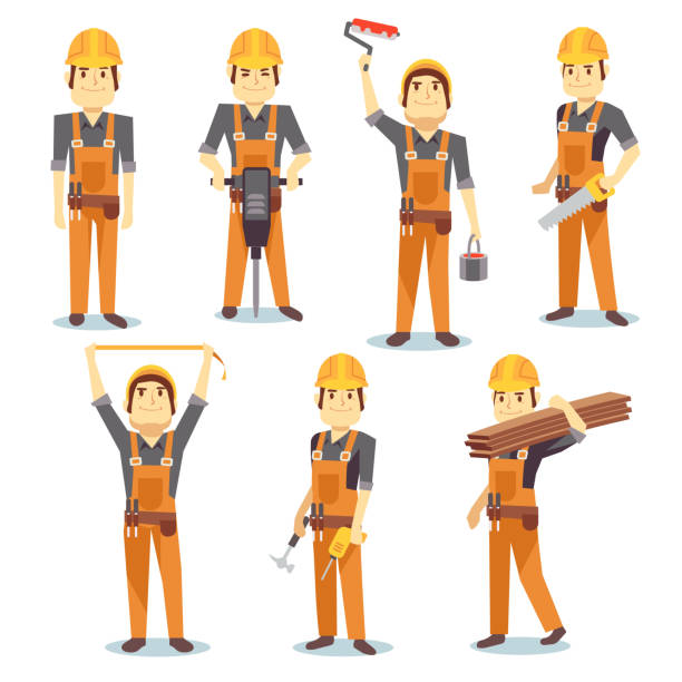 ilustraciones, imágenes clip art, dibujos animados e iconos de stock de construction engineering industrial workers working with building tools and equipment - carpintero