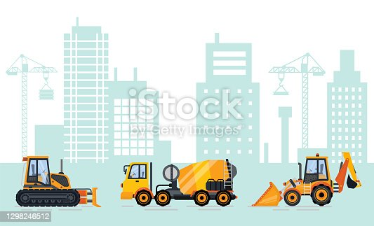 Cityscape with construction machinery vector. City with equipments and transport, skyline with buildings and skyscrapers, cement mixer excavator bulldozer