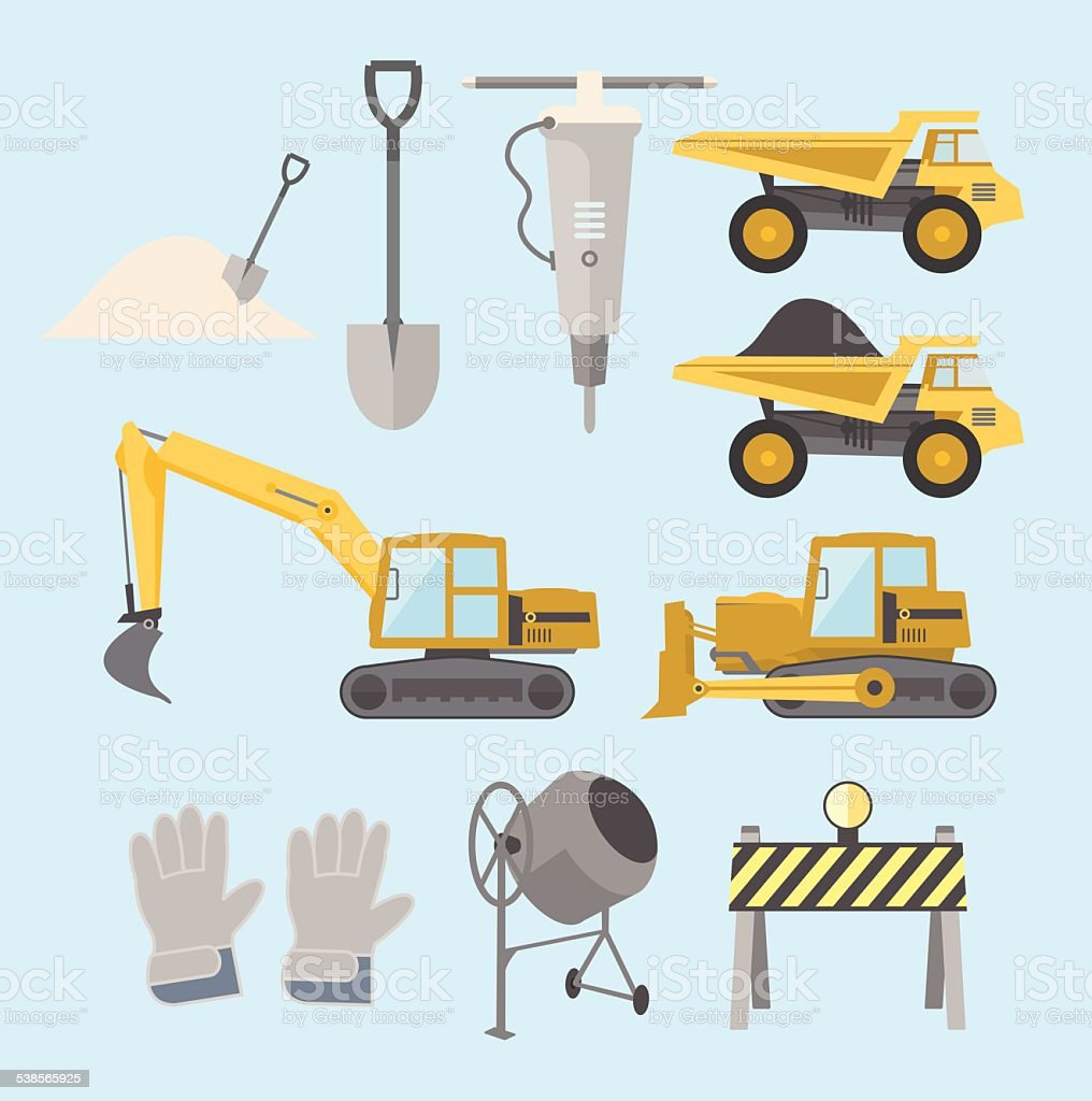Construction equipment and machinery vector art illustration