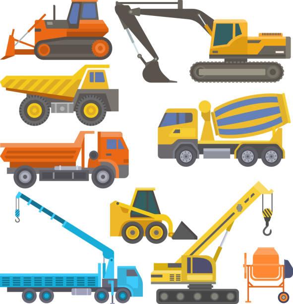Construction equipment and machinery with trucks crane bulldozer flat yellow transport vector illustration vector art illustration