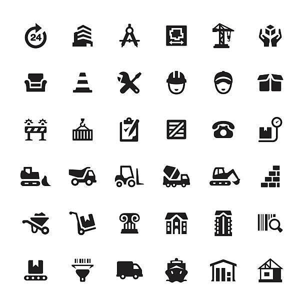 Construction Equipment and Site vector icons Construction Equipment and Site icons. airport drawings stock illustrations