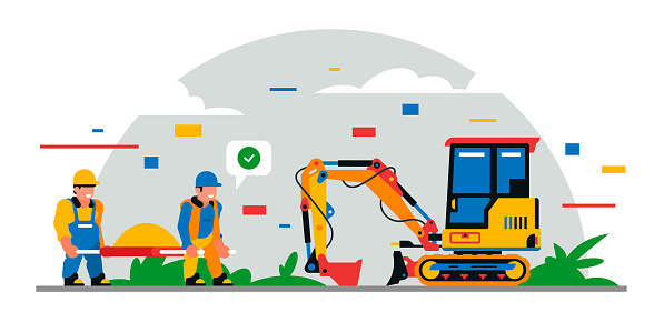 Construction equipment and workers at the site. Colorful background of geometric shapes and clouds. Builders, construction equipment, service personnel, mini excavator, sand. Vector illustration
