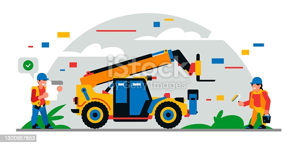 istock Construction equipment and workers at the site. Colorful background of geometric shapes and clouds. Builders, construction equipment, service personnel, telehandler, painter. Vector illustration 1320957853