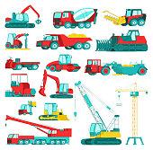 Construction equipment, heavy mining machinery set, vector illustration. Excavator, tractor, dump truck, bulldozer and loader, vehicles. Industry construction machines, transportation.
