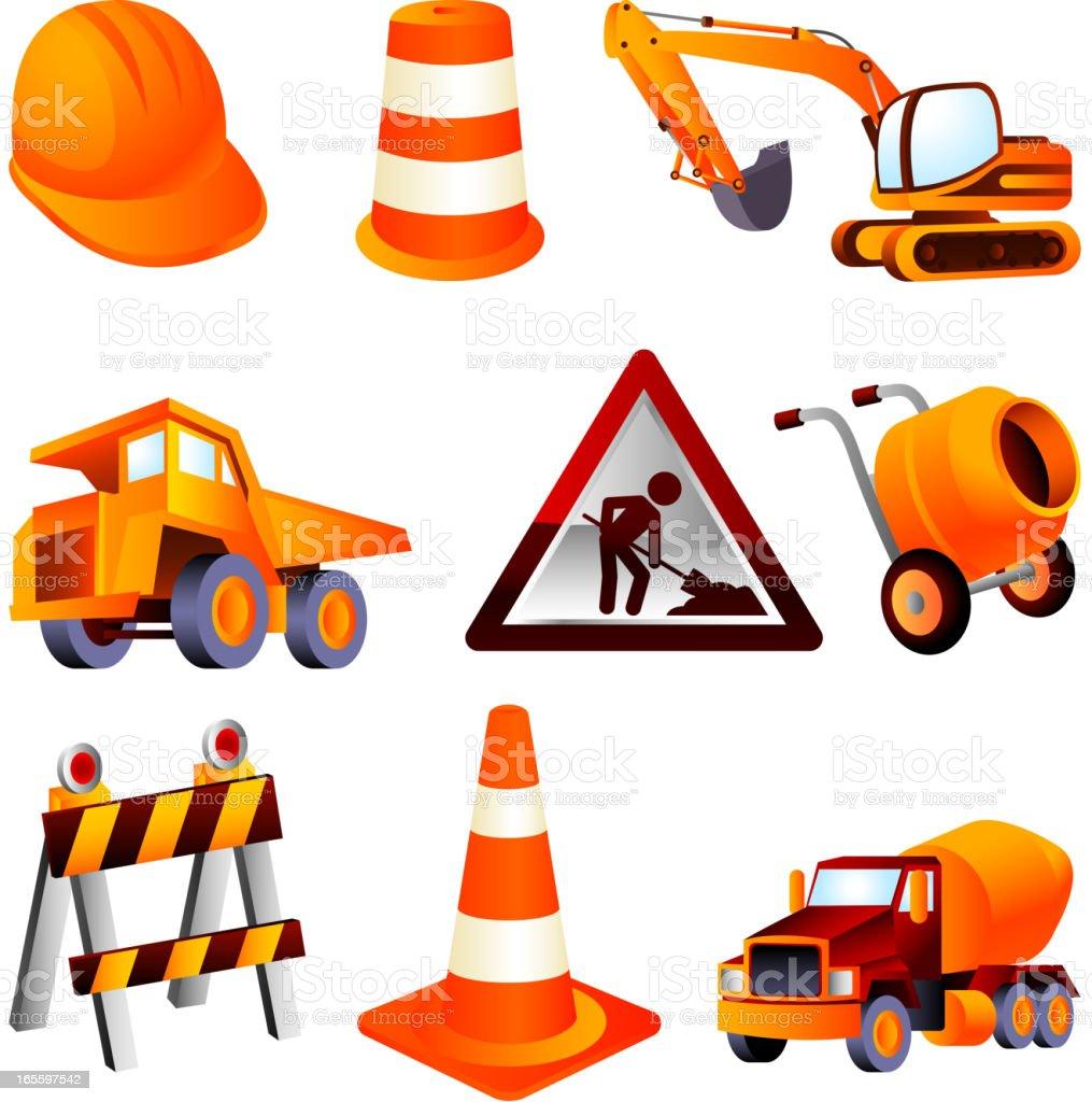 Construction equipment helmet cone lifting truck warning sign barrel cement vector art illustration