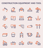 Construction equipment and tool icon set.