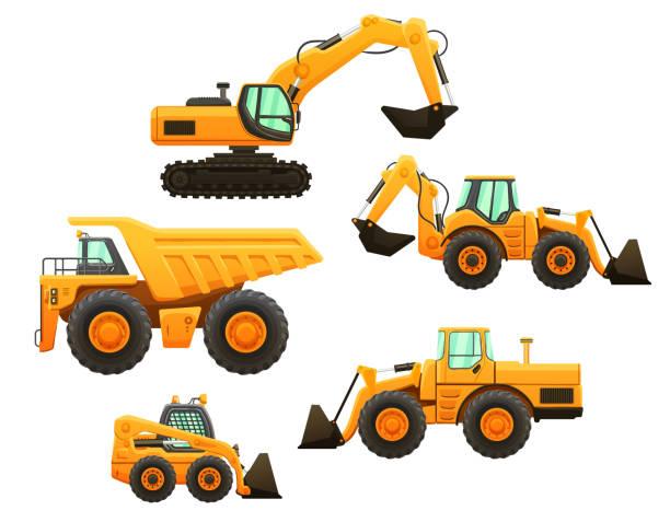 stockillustraties, clipart, cartoons en iconen met bouwmachines vector geïsoleerde set. - shovel