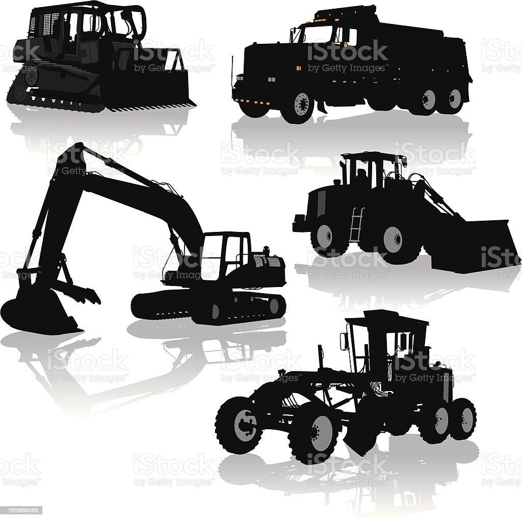 Construction Equipment, Vehicles - Bulldozer, Dump Truck, Grader vector art illustration
