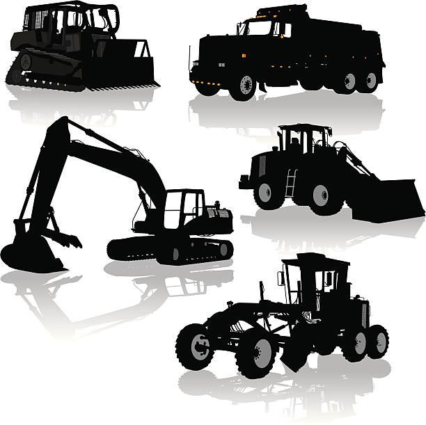 baugerät, fahrzeuge-bulldozer, kipper, straßenhobel - bagger stock-grafiken, -clipart, -cartoons und -symbole
