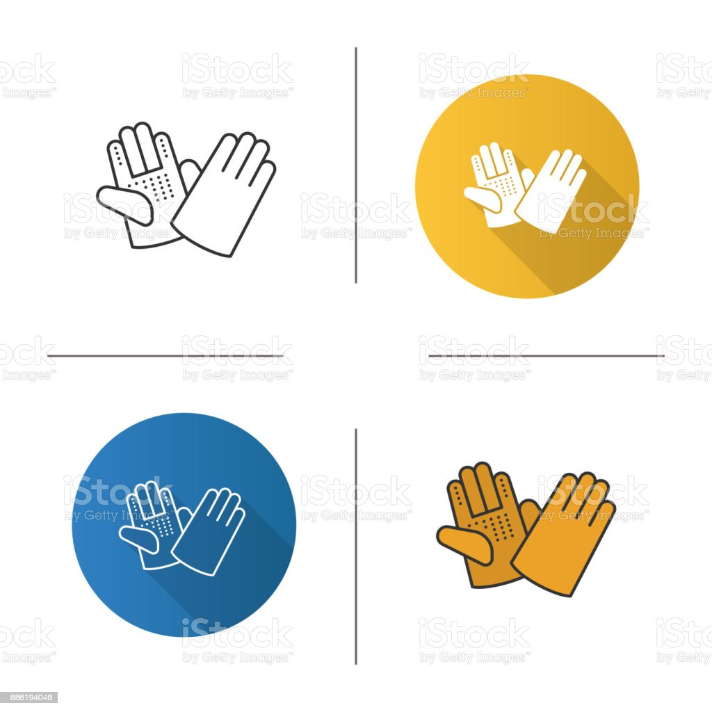 Construction gloves icon vector art illustration