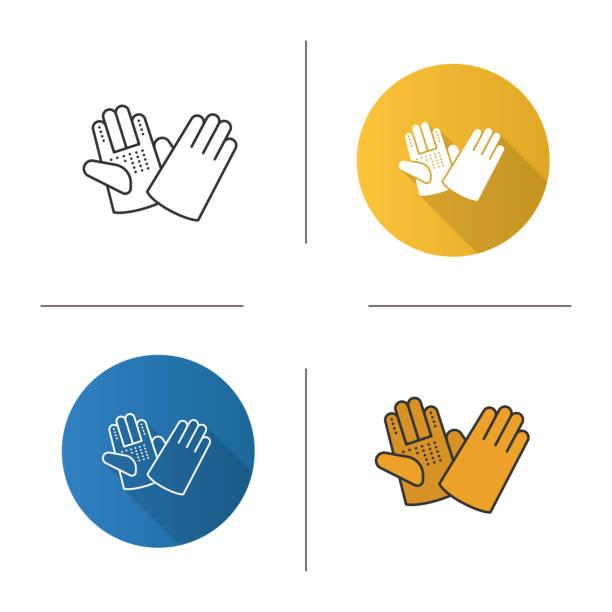 bau-handschuhe-symbol - schutzhandschuhe stock-grafiken, -clipart, -cartoons und -symbole