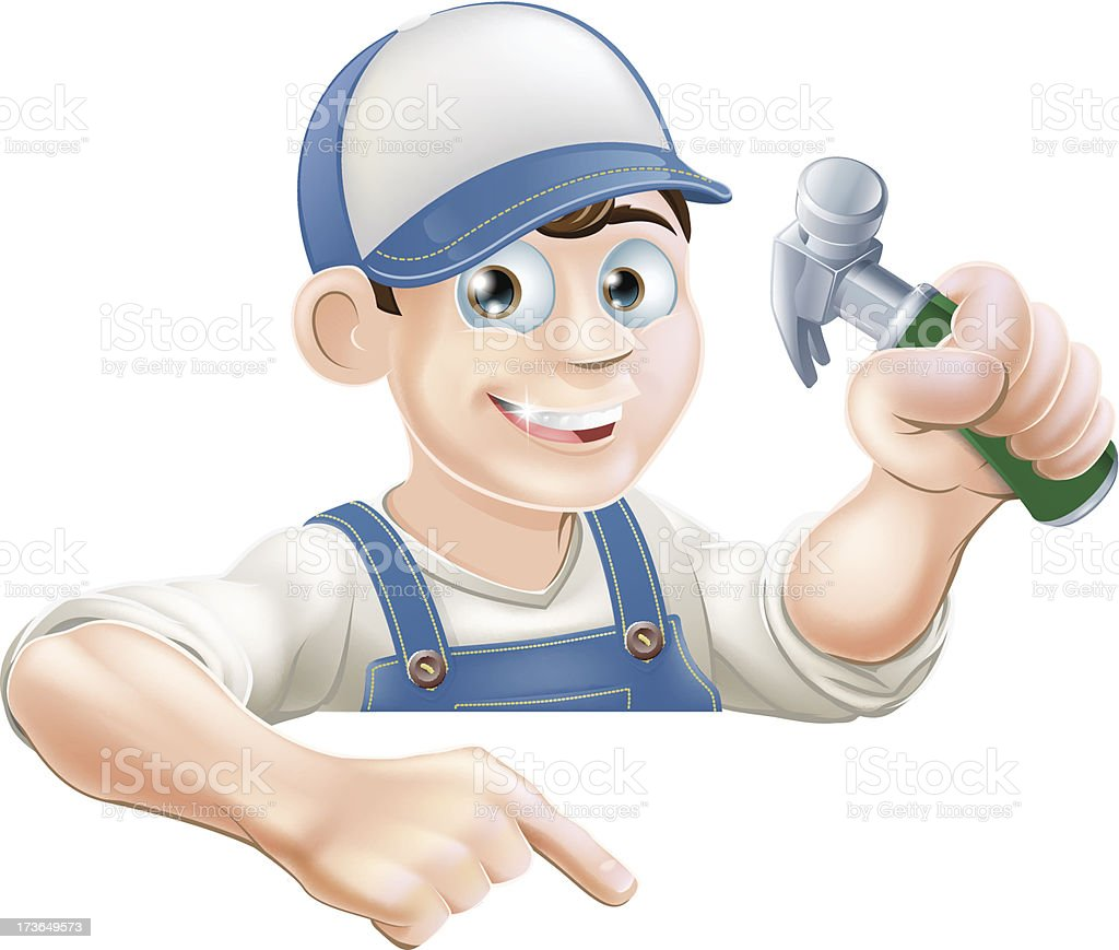 Construction guy pointing at banner royalty-free stock vector art