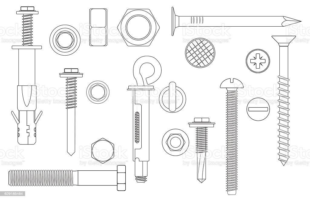 Construction Hardware set Bolts, Screws, Nuts and Rivets. vector illustration vector art illustration