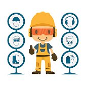 Construction worker repairman thumb up, safety first, health and safety warning signs, vector illustrator