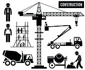 Human pictogram and icons depicting heavy and large construction vehicles and equipments such as scaffolding, tower crane, truck mixer, and sky lift truck.