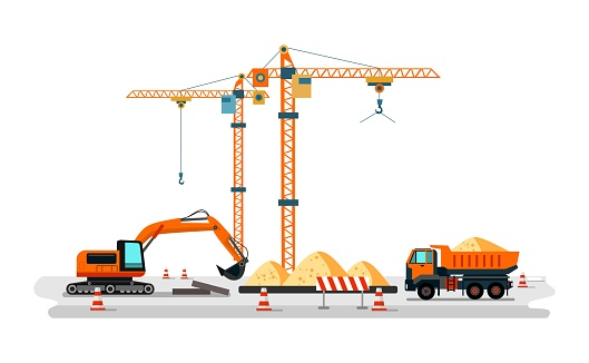 Construction heavy machines on building site