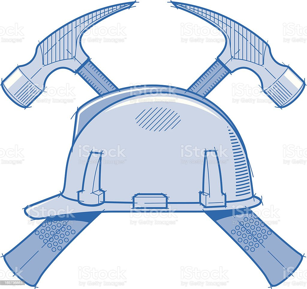Construction Helmet Blueprint B royalty-free stock vector art