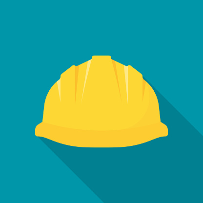 Construction helmet. Yellow safety hat