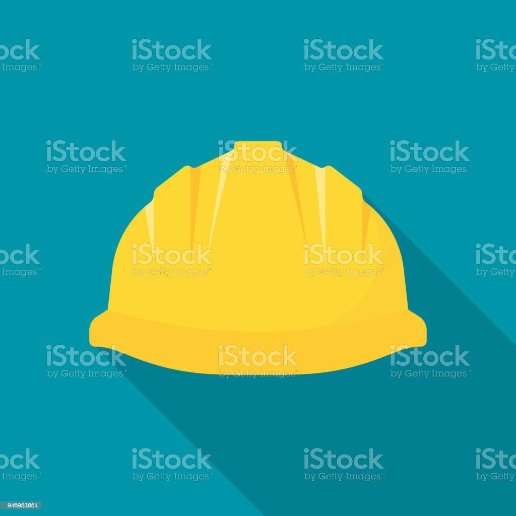 Construction helmet. Yellow safety hat vector art illustration