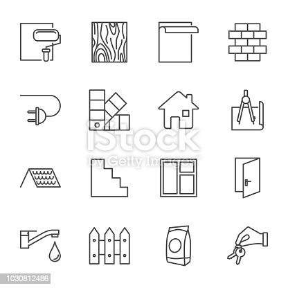 Construction, house building set of vector icons outline style