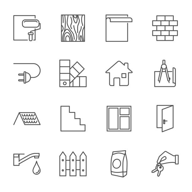 construction, house building set of vector icons outline style - drewno tworzywo stock illustrations