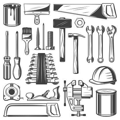 Construction and house repair tool retro icons. Screwdriver, hammer and spanner, wrench, paint and brush, saw, spatula and measure tape, screw, nail and hard hat, jack plane and clamp sketch