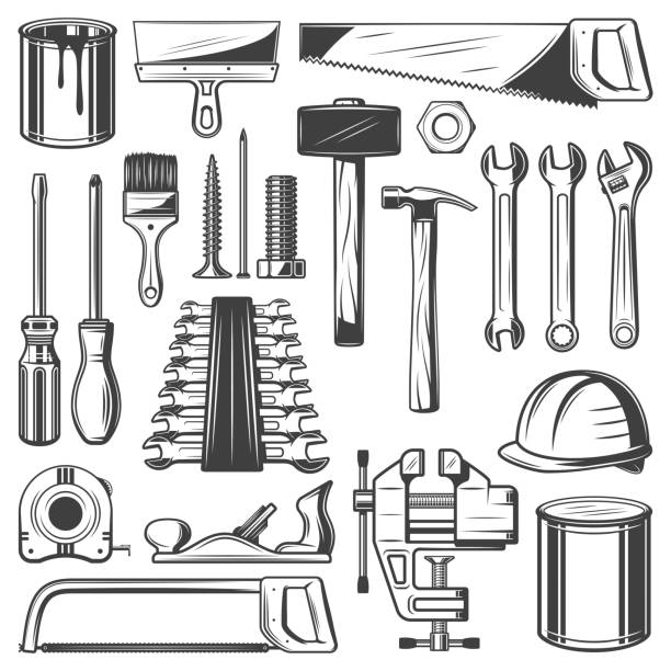 Construction, house repair or carpentry tool icons Construction and house repair tool retro icons. Screwdriver, hammer and spanner, wrench, paint and brush, saw, spatula and measure tape, screw, nail and hard hat, jack plane and clamp sketch carpenter stock illustrations
