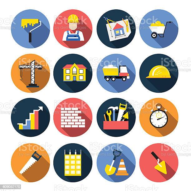 Construction Icon Flat Design Set With Shadows Stock Illustration - Download Image Now