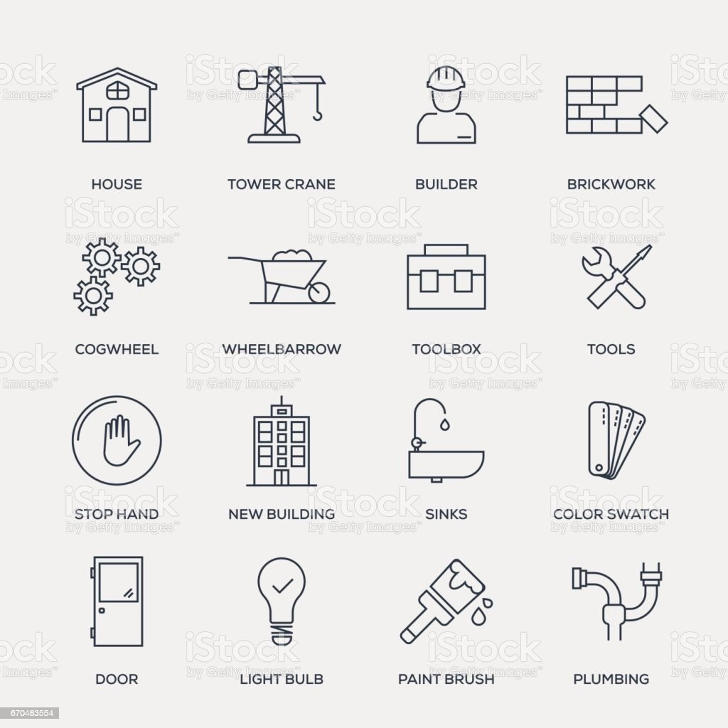 Construction Icon Set - Line Series vector art illustration