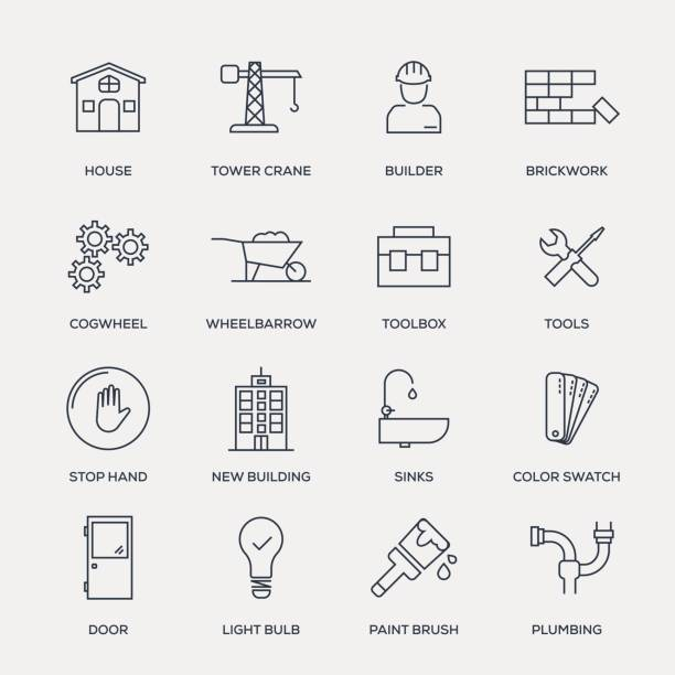 Conjunto de iconos de construcción - línea serie - ilustración de arte vectorial