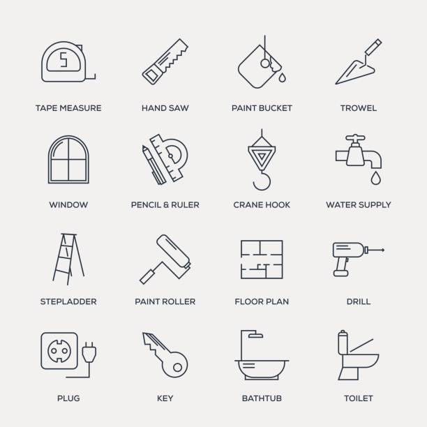 construction icon set - line series - architecture icons stock illustrations