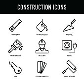 Construction Icon Set - Thick Line Series