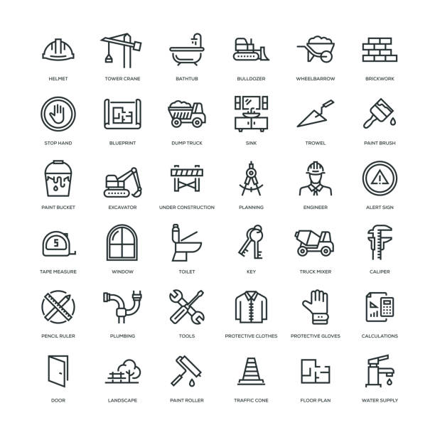Construction Icon Set Construction Icon Set - Line Series paint can stock illustrations