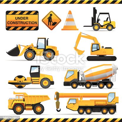 Collection of high detailed construction vehicles and signs