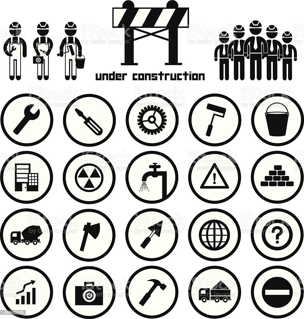 construction icon set vector art illustration